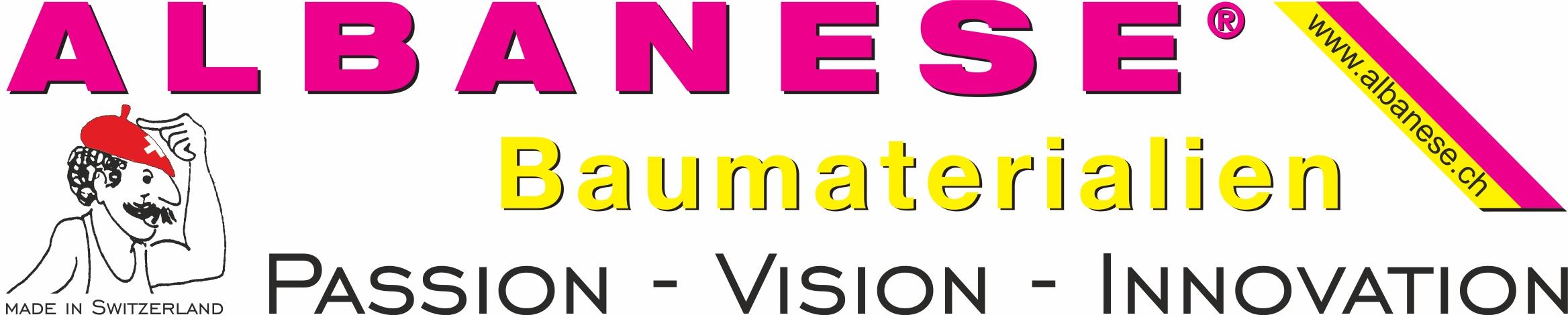 Logo mit www.albanese.ch & Kopf Passion-Vision-Innovation D 2018-02-20